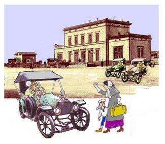 Bahnhof 3 Autos und Frau