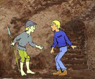 Doppelter Moritz auf Kellertreppe