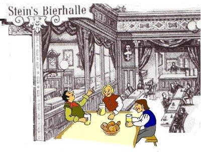 Bierhalle mit Trinkern
