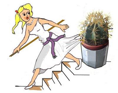 Schneefrau fliehend mit Kaktus