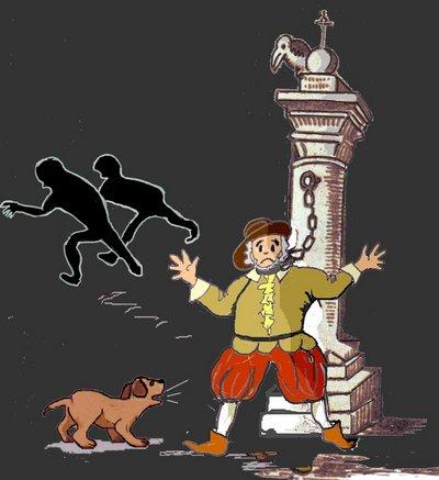 Pranger mit Ratsherrn und Flüchtenden