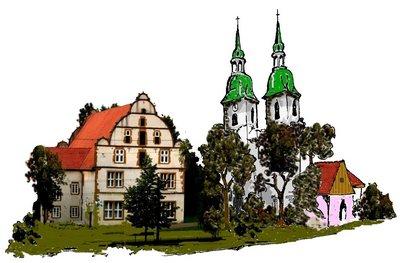 Spiegelshof mit Kirche