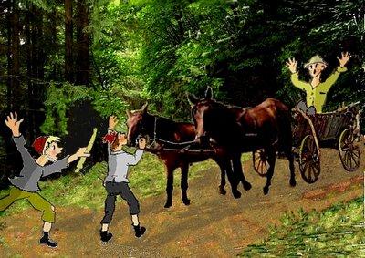 Maleu Waldweg mit Räubern