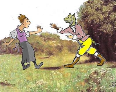 Werwolf Waldwiese mit Frau