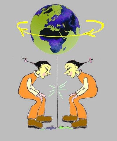 Gegenwelt Globus mit chinesen