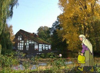 Wassermühle doppelt mit Frau