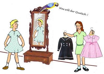 15 Spiegel mit Kleiderprobe total