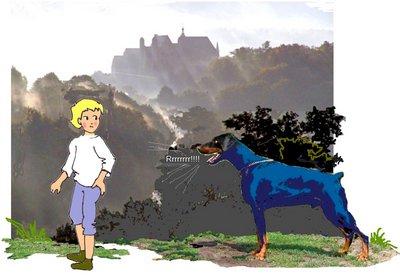28 Nebelschloß mit Hund