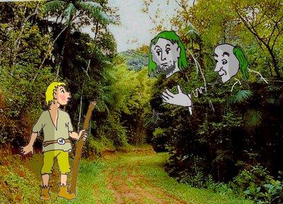 Winzriese im Wald mit Helfern gut
