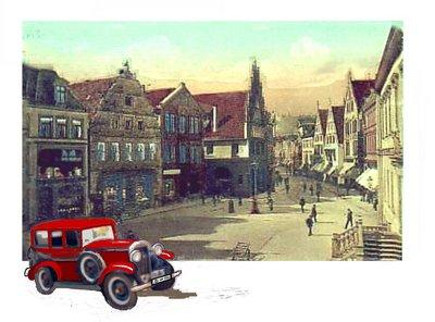Auto Alter Markt mit rotem Auto