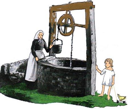 Ziehbrunnen mit Kind