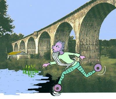 Viadukt mit lila M