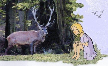 Windwehe Hirsch mit Mädchen