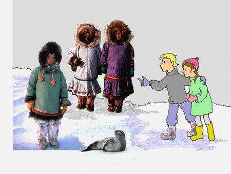 29 Stoff Inuitweiber