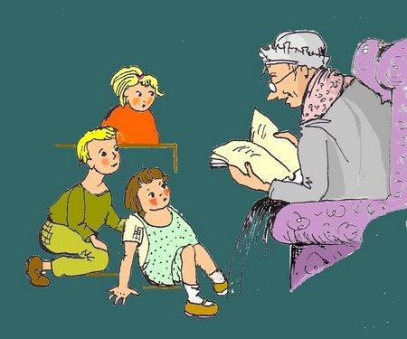 40 Oma mit Kindern blau